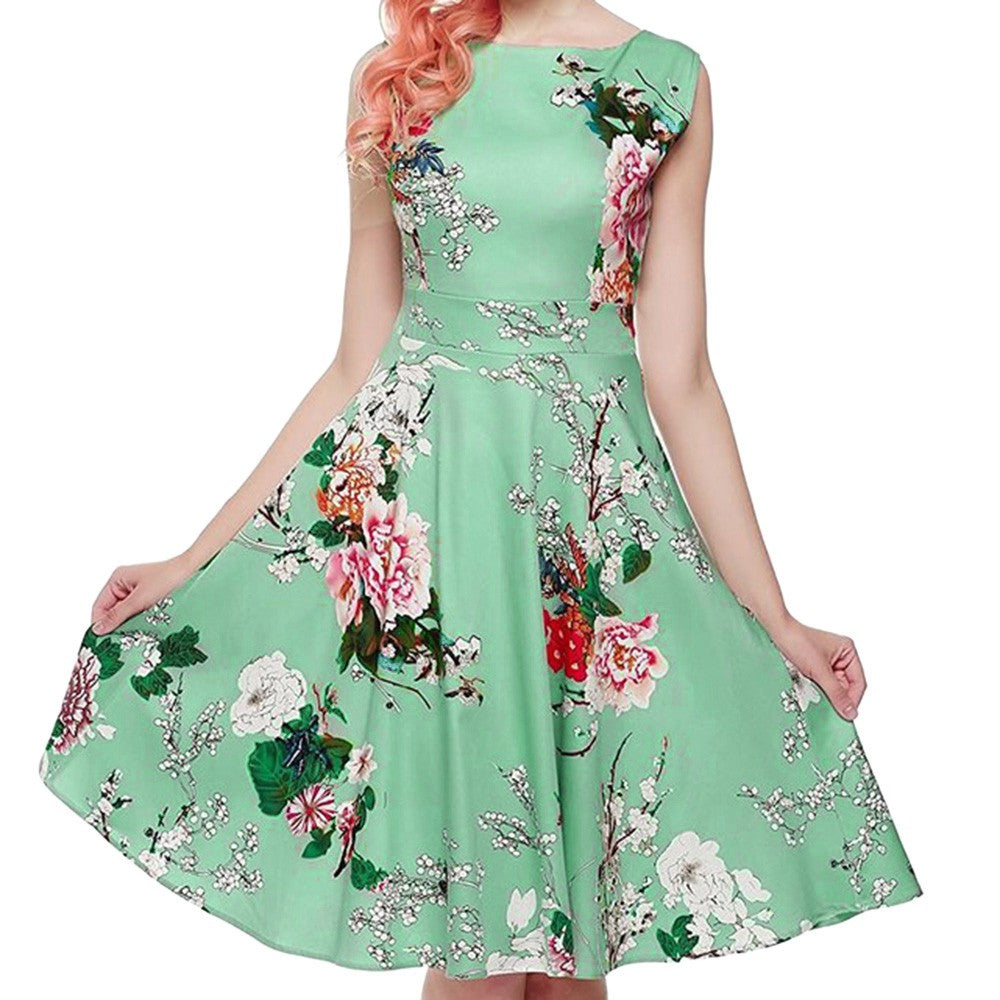 Women Vintage Printing Sleeveless Casual Evening Party Prom Swing Dress