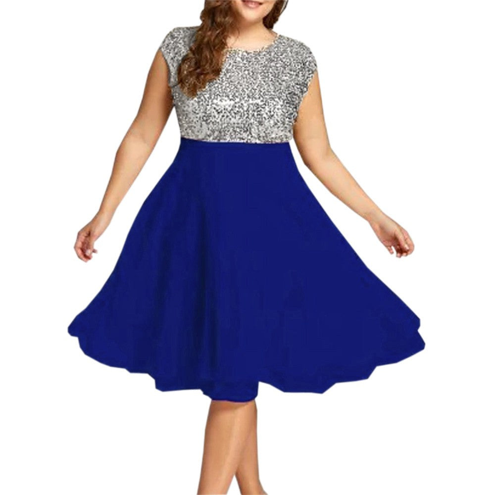Women's Round Neck Sleeveless Sequined Patchwork Party Prom Swing Dress