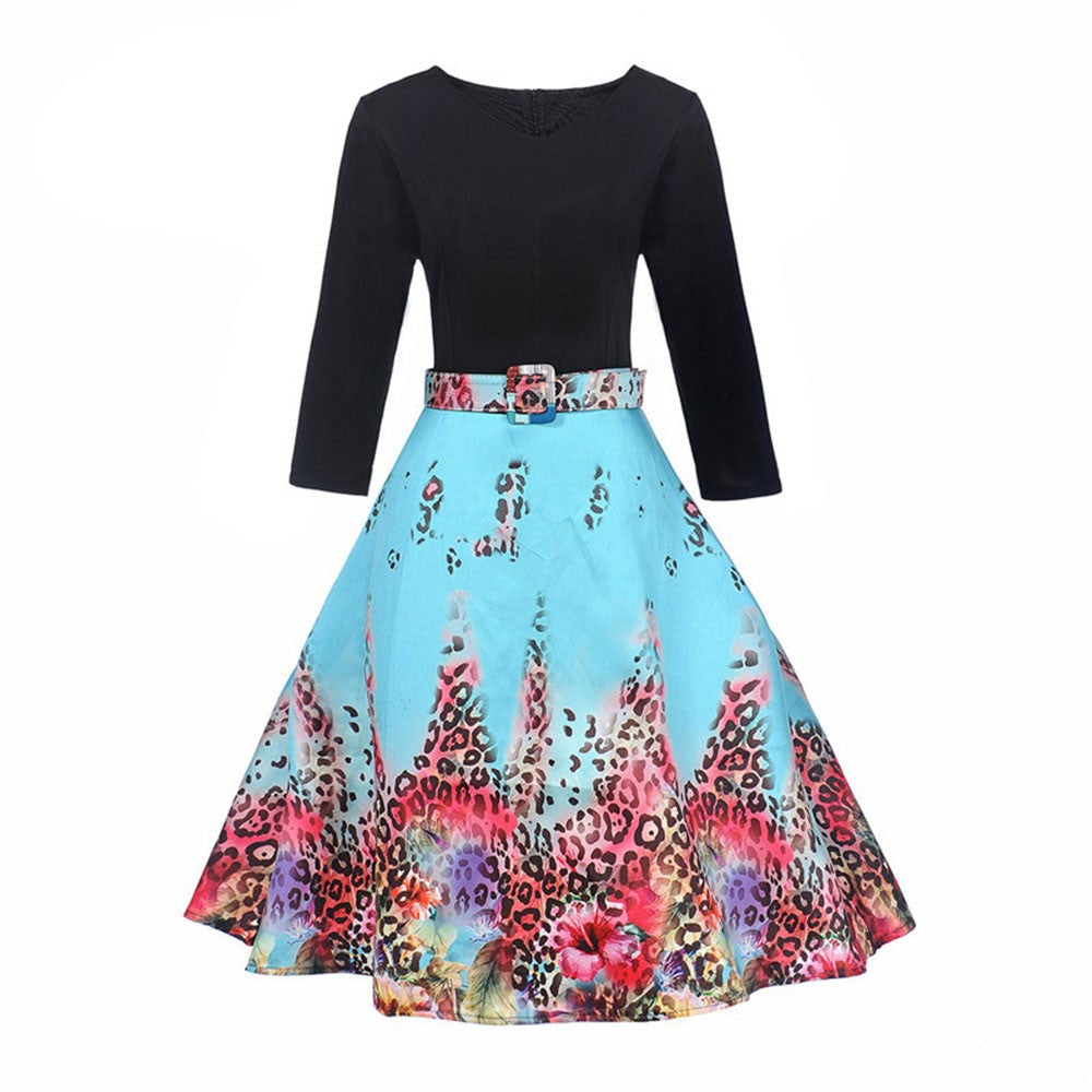 Women Vintage Sleeveless O Neck Floral Printed Evening Party Prom Dress