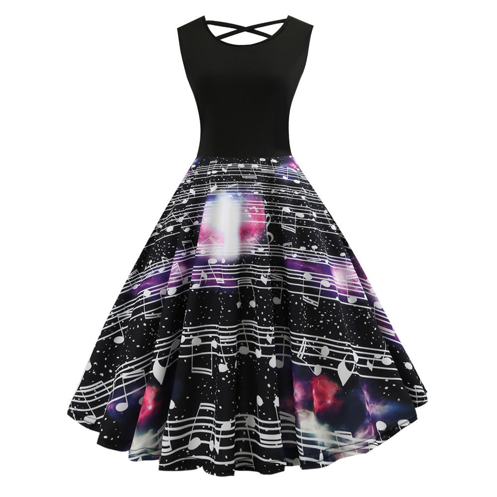 Fashion Women Vintage Rounch Neck Evening Printing Party Prom Swing Dress