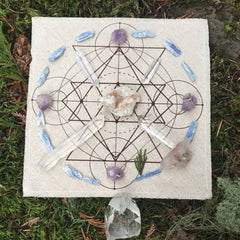Crystal Grid Design 1 - Natural White and Black