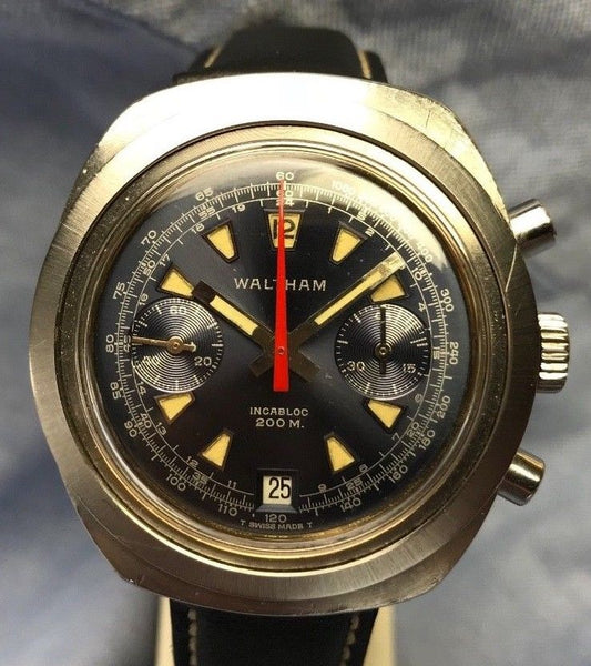 Vintage 1960's Waltham Chronograph Self-Winding Incabloc 17 Jewels Watch