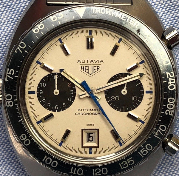 Jo Siffert Vintage 1972 Heuer  Ref. 1163T  Autavia Automatic Cal. 11 Chronograph  42mm Watch