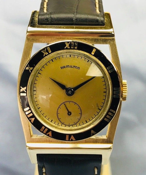 Vintage Hamilton Piping Rock 14K Solid Yellow Gold Wristwatch