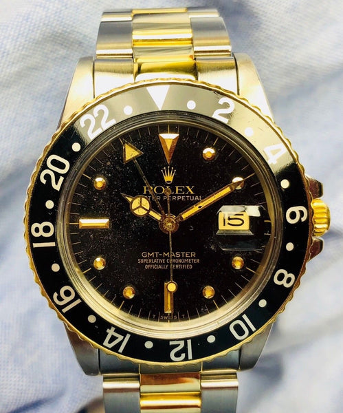 1982 Vintage Rolex GMT-MASTER Ref. 16753 Nipple Dial Two Tone 40mm Watch