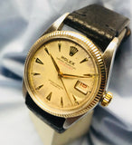 Vintage 1953 Rolex Datejust 36mm Roulette Date Wheel ref. 6305 Oyster Perpetual Gold Bezel