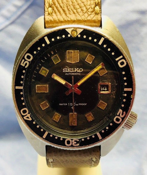 Vintage 1970s Seiko 41mm Automatic 6105 Diver 150m Wristwatch
