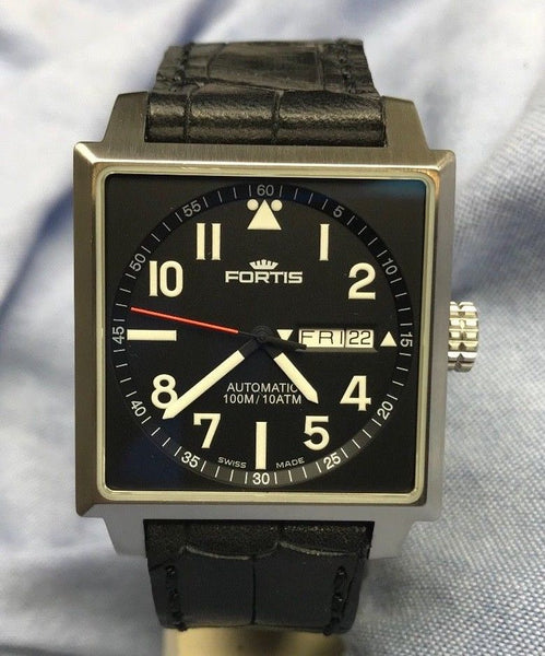 2016 Fortis Square 25 Jewels Automatic Model 653.10.158 Watch with 38 x 43mm stainless steel case