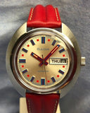 Vintage Bulova 1970s Day Date Spirit of 76 Automatic 17 Jewels Watch with 39.50 x 39mm Case