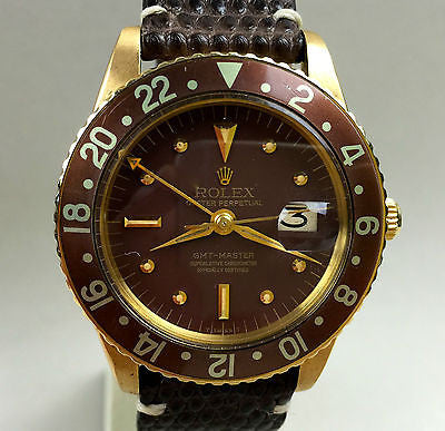 "Vintage Rolex GMT 18k  ""No Crown Guard"" Early Gen ref.1675  Year 1965 - HallandLaddco.com"