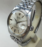 Vintage Rolex Datejust  Pie-Pan Un-Polished Matching date code Band 18k W bezel - HallandLaddco.com