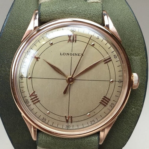 Vintage Longines  Oversized  Solid Rose Gold - HallandLaddco.com