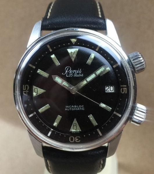 Vintage Renis Super Compressor Divers Dive Diving Watch - HallandLaddco.com
