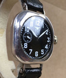 Vintage Elgin Military WWI Year 1912 Black Porcelain Dial Sterling Silver - HallandLaddco.com