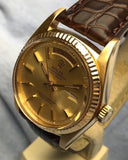 Vintage 1973 Rolex Day Date ref 1803 Presidential in 18K Yellow Gold with Day Date Function, 36mm Case and Leather Band