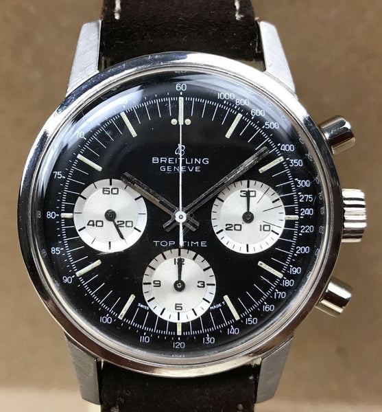 circa 1968 Breitling Geneve Top Time Chronograph Wristwatch - HallandLaddco.com