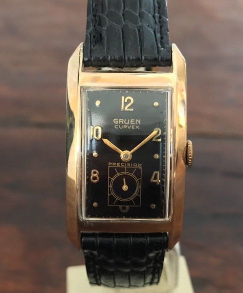 Gruen Curvex Precision 10K Gold Filled 17 jewels from 1940's - HallandLaddco.com