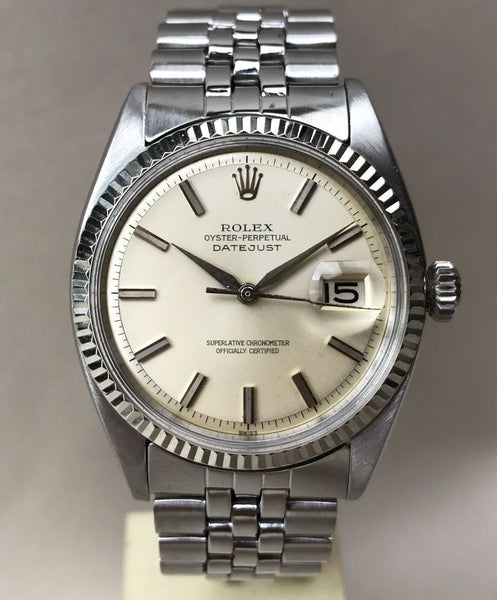Circa 1962 Rolex Datejust, White Gold Bezel, 100% Original, Serviced & Running Vintage Wristwatch - HallandLaddco.com