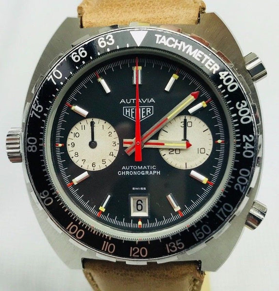 Vintage Black 1970s Heuer Autavia Automatic Chronograph 1163v for Sale - HallandLaddco.com
