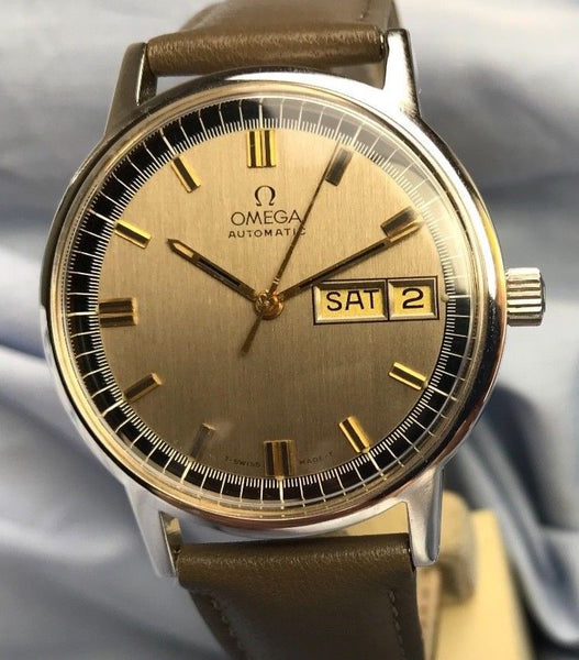 1970's Omega Automatic Day-date ref 1660117 with Taupe Dial - HallandLaddco.com