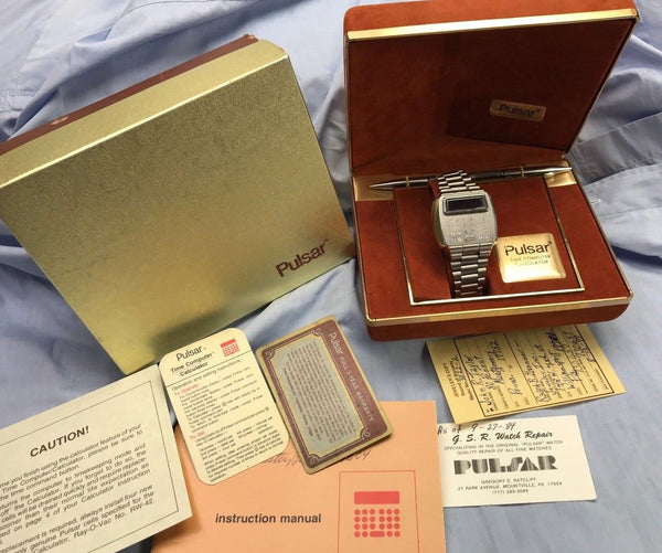 Old Pulsar Model Time Calculator LED watch 1970's (First Calculator Watch) - HallandLaddco.com