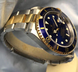 Rolex Submariner Two Tone Blue 18K Gold 40mm Ref. 116613 Watch w/ Patina - HallandLaddco.com