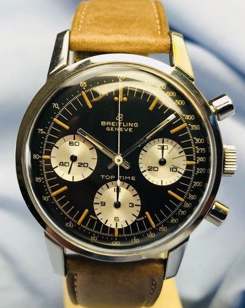 Vintage 1960's Breitling Top Time 810 Chronograph Black Dial 20mm For Sale - HallandLaddco.com