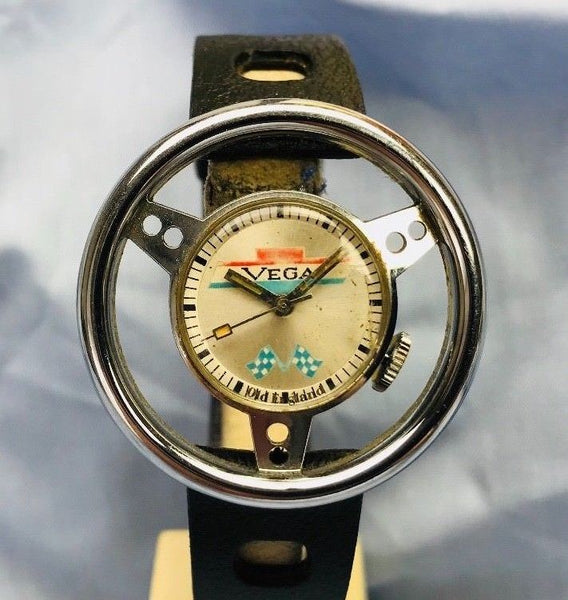1970's Steering Wheel Old England Vega Chevrolet Watch Tropic Rubber Strap - HallandLaddco.com