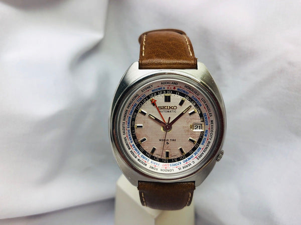 "1970's Seiko Automatic ""WORLD TIME"" 6117 Date 17 Jewels Watch"