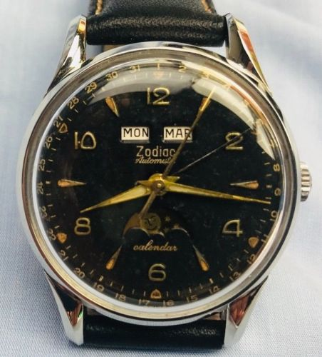 Zodiac Moon Phases Calendar Sport Watch Cal 1402 from 1960's - HallandLaddco.com