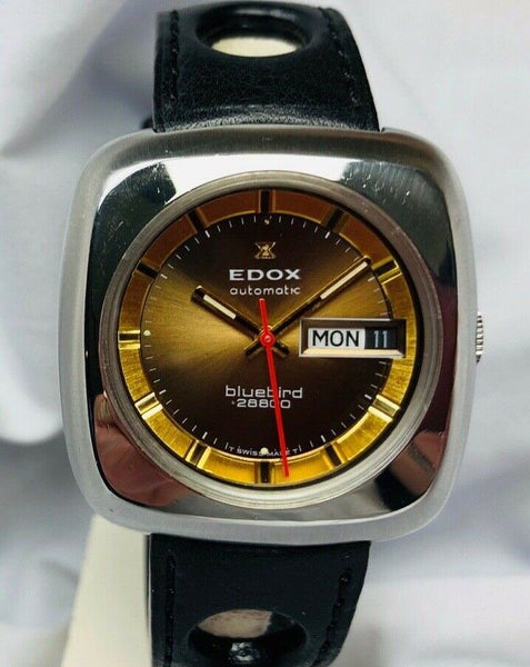 1970s vintage edox bluebird 28800 automatic wristwatch