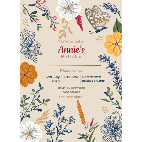 Personalised Magnetic Birthday Invite - Floral