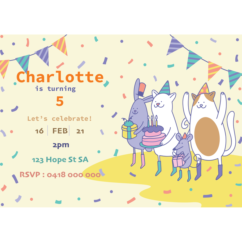 Personalised Magnetic Birthday Invite - Party Animals
