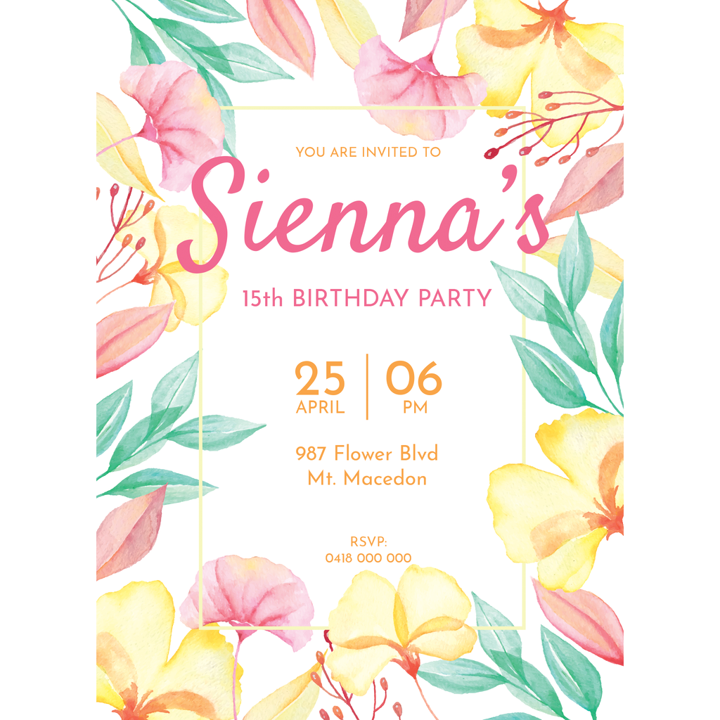 Personalised Magnetic Birthday Invite - Watercolour Flowers