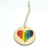 BAG TAG -Rainbow Heart Bamboo (personalised)