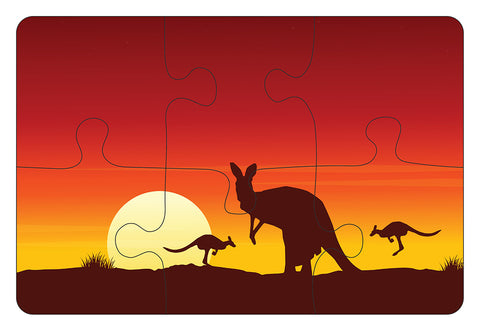 JIGSAW COASTERS Kangaroo Sunset 6pc