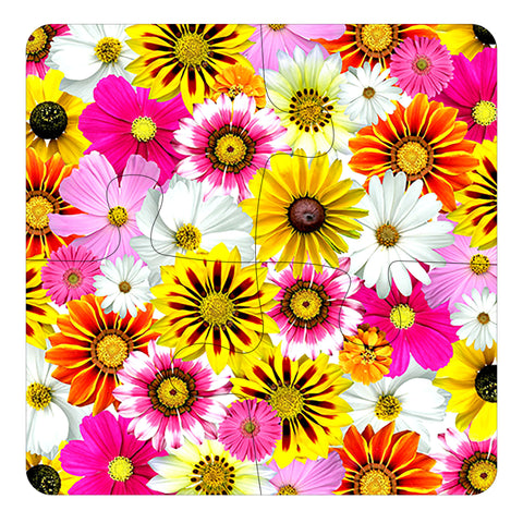 JIGSAW COASTERS Pretty Flowers 4pcs