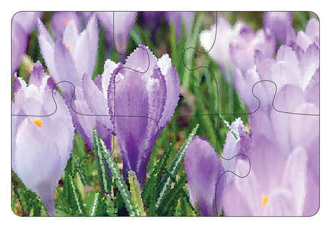 JIGSAW COASTERS Purple Flowers 6pc