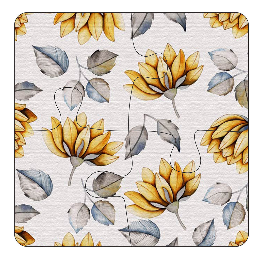 JIGSAW COASTERS Yellow Flowers 4pc