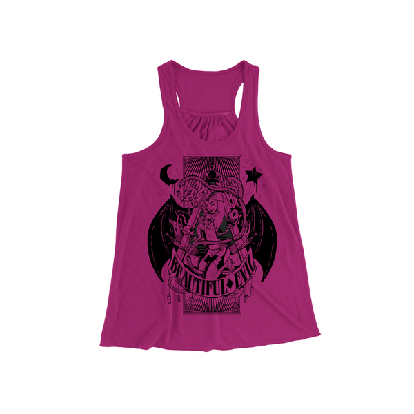 Beautiful Evil, Beautiful Evil Pin Up Tank- Berry, Women - Apparel - Shirts - Sleeveless, Beautiful Evil