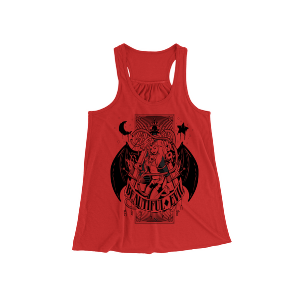 Beautiful Evil, Beautiful Evil Pin Up Tank- Red, Women - Apparel - Shirts - Sleeveless, Beautiful Evil