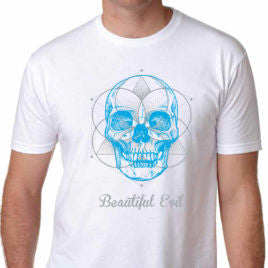 Beautiful Evil, Meta Skull Fitted White T-Shirt, T-Shirt, Beautiful Evil