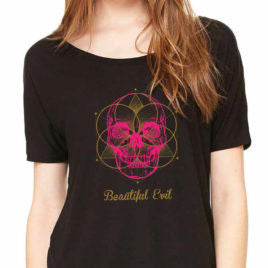 Beautiful Evil, Meta Skull Slouchy Black Tee, T-Shirt, Beautiful Evil