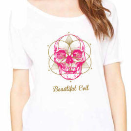 Beautiful Evil, Meta Skull Slouchy White Tee, T-Shirt, Beautiful Evil