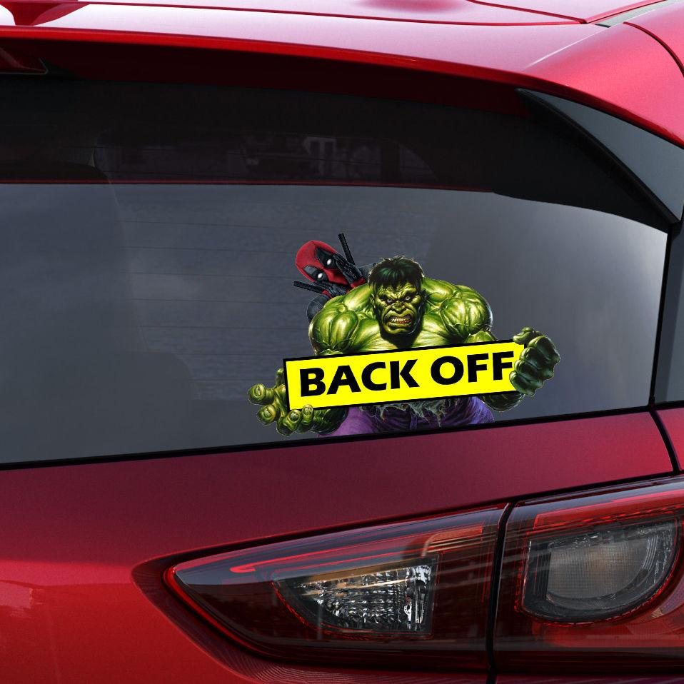 Hulk deadpool back off car funny joke novelty sticker vinyl decal gift cool new