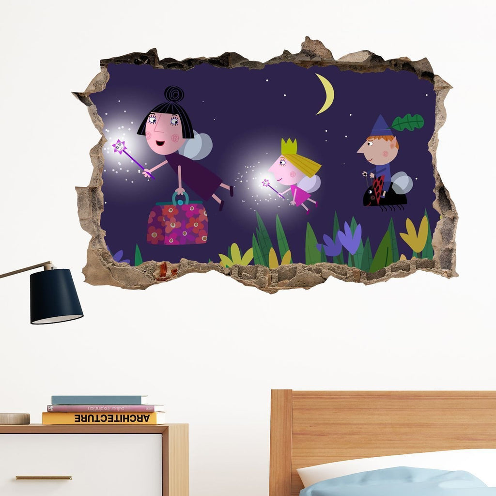 Ben And Holly Night In Wall Crack Decal Sticker Wall Art Kids Gift Bedroom  Xmas