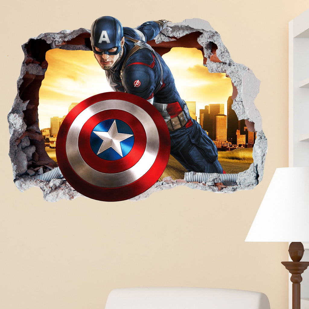 Captain America Smashed Wall Crack Kids Boy Girls Bedroom Vinyl Decal  Sticker Gift