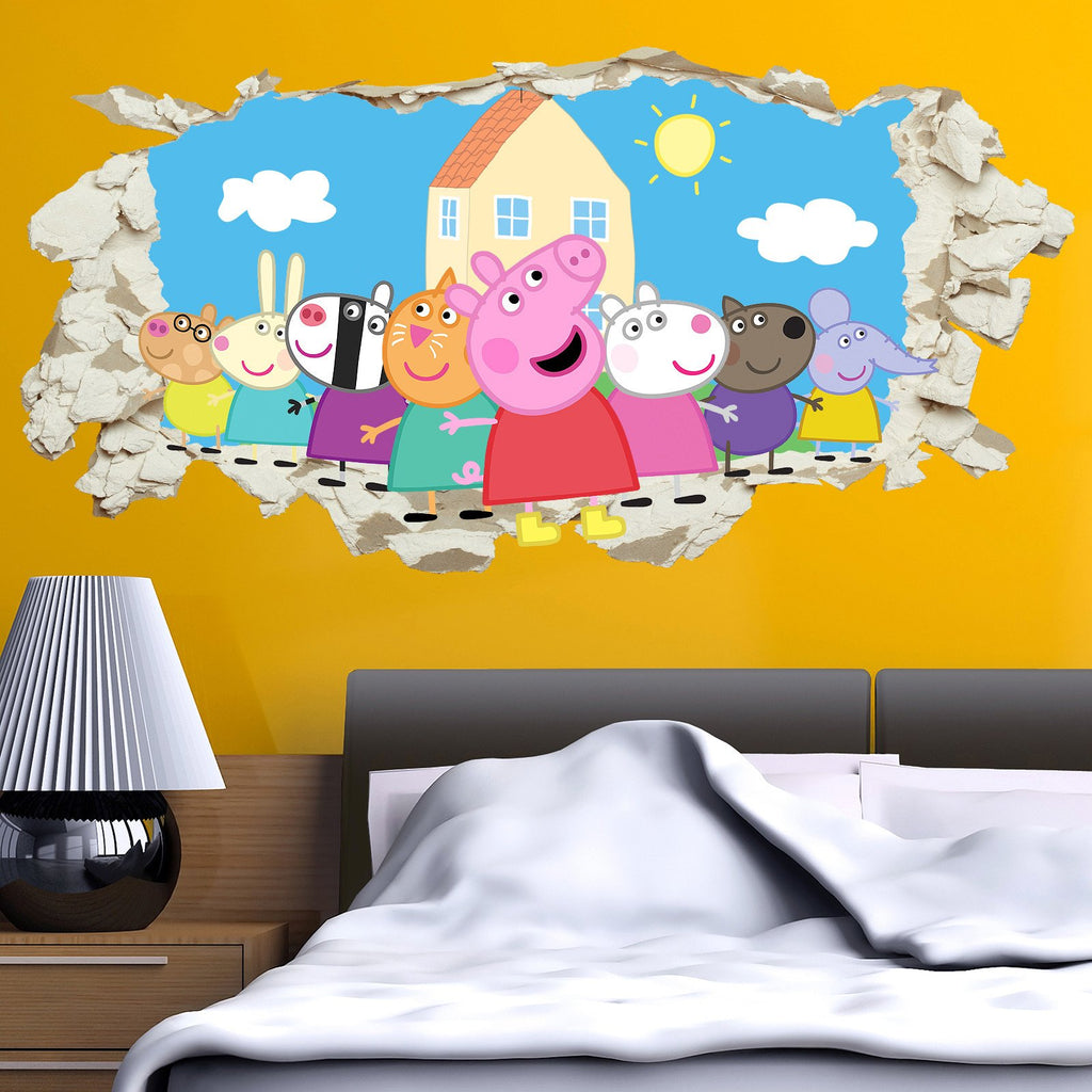 Peppa Pig Gang in Wall Crack Kids Boy Girls Bedroom Decal Art ...