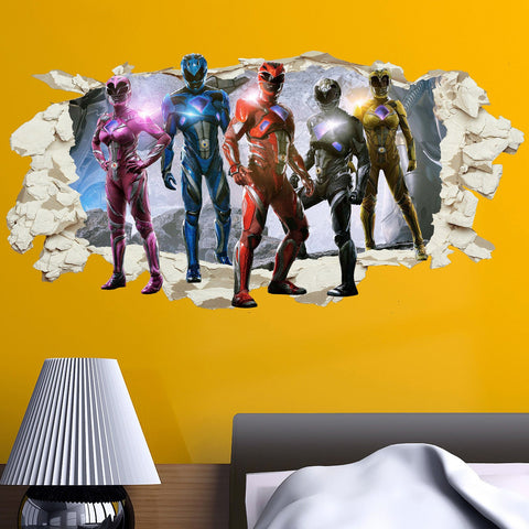 Power rangers in wall crack kids boy girls bedroom vinyl decal sticker gift new