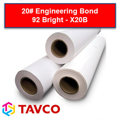 20# Engineering Bond Plotting Paper - 92 Bright X20B - X20B15500C - TAVCO